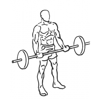Wide Grip Standing Barbell Curl - Step 1