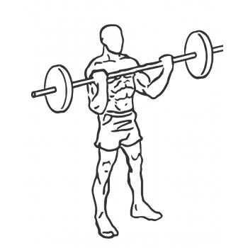 Wide Grip Standing Barbell Curl - Step 2